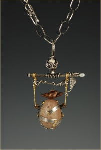 Mixed Media - Handle with Care Pendant - Polymer Clay Bird and Egg copy