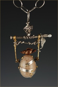 Mixed Media - Bird and Egg Pendant - Handle with Care copy