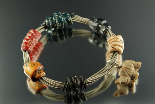 MixedMedia_Polymer Clay_Charm_RecycledGuitarString_Bangle
