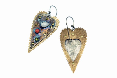Metal Work - Earrings- You Gotta Have Heart - Backside