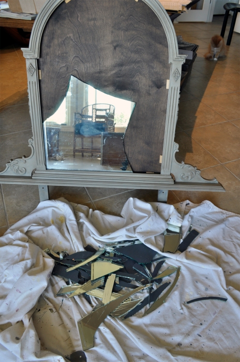 Furniture Refinishing - Vanity Broken Mirror