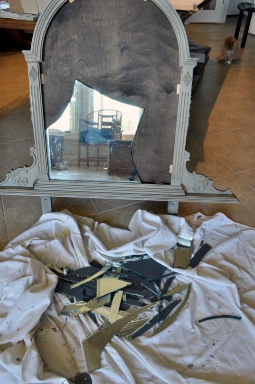 Furniture Refinishing - Vanity Broken Mirror