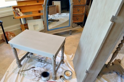 Furniture Refinishing - Vanity Painting in Progress