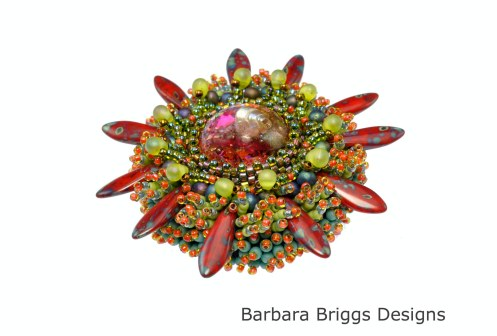 Marine Life 2 - Bead Embroidered Brooch - Red Tones - Signed