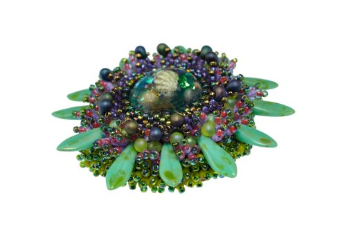 Marine Life Bead Embroidered Brooch - Side View