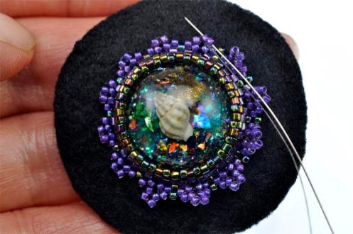 Ocean Flora Bead Emroidered Brooch - Row 3