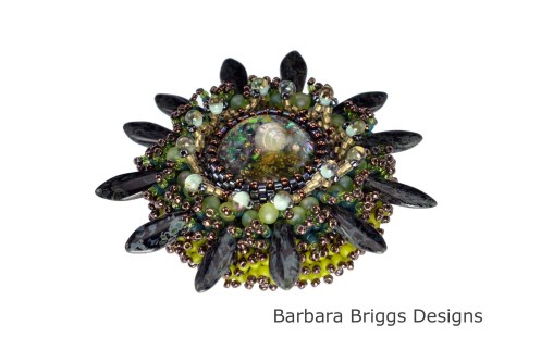 Marine Life Bead Embroidered Brooch - Black-Green Tones Beauty Shot